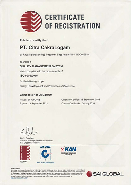 PT Citra CakraLogam - Zinc Oxide Powder - ISO Certificate