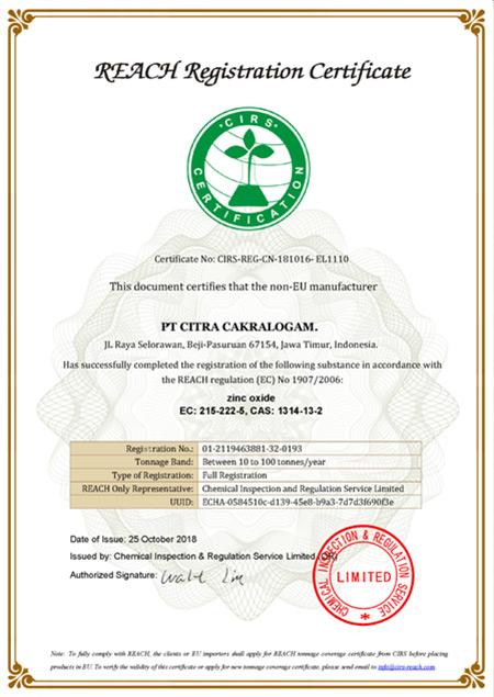 PT Citra CakraLogam - Zinc Oxide Powder - REACH Certificate